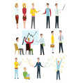set business characters working in office vector image vector image