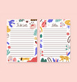set childish notebook organizer planner memo vector image vector image