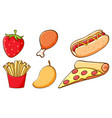set different kinds food and fruits vector image vector image