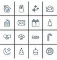 set of 16 happy new year icons includes agenda vector image vector image