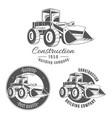 set of logos with bulldozer vector image vector image