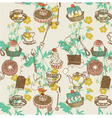tea and cakes background vector image vector image
