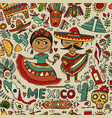 travel to mexico seamless pattern for your design vector image vector image