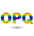 triangular letters opq vector image vector image