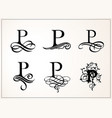 vintage set capital letter p for monograms and vector image vector image