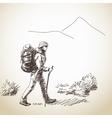 woman trekking vector image