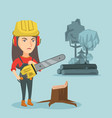young caucasian lumberjack holding a chainsaw vector image vector image