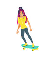 young woman skateboarding isolated on white vector image vector image
