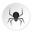 black spider icon circle vector image
