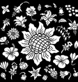 Flower silhouettes set vector image