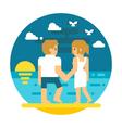 Flat design couple beach walking vector image