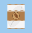 A white and brown fabric with a coffee bean logo vector image