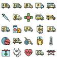 ambulance icons flat vector image vector image