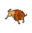 american buffalo jumping mono line vector image vector image