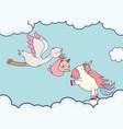 bashower stork with little girl cute unicorn vector image