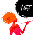 Beautiful artist girl silhouette Splash paint vector image vector image