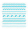 blue ocean waves sea wave silhouette signs vector image