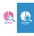 brain and loupe logo combination education vector image vector image