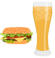Burger and beer vector image vector image