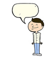 cartoon smiling man with speech bubble vector image vector image