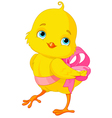 Chick with bow vector image vector image