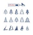 christmas tree line art icons set christmas vector image