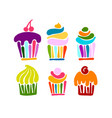 cupcake collection for your design vector image