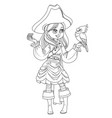 cute cartoon girl in pirate costume with parrot vector image vector image