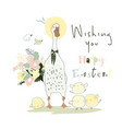 cute cartoon goose and chicks celebrating easter vector image