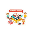 cute little kids sitting and reading on giant vector image