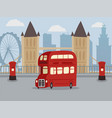 discover london on double decker red bus banner vector image