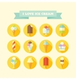Flat icons set of ice creams and popsicles vector image