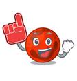 foam finger mars planet mascot cartoon vector image