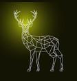 geometric polygonal deer on dark background vector image vector image