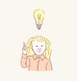 girl idea lightbulb child kid lamp hand drawn vector image vector image