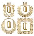 golden vintage monograms set heraldic logos q vector image