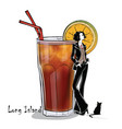 hand drawn of cocktail with girl vector image