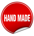 hand made round red sticker isolated on white vector image vector image