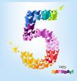 happy birthday five years postcard vector image vector image