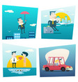 happy cartoon businessman character love travel vector image