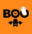 happy halloween flying ghost spirit hanging bat vector image