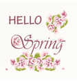 Hello Spring text background with pink flowers vector image
