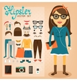 Hipster character pack for geek girl vector image vector image