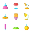 Home decoration lamp icons set cartoon style vector image vector image