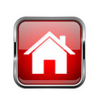 home page icon square red 3d icon with chrome vector image vector image