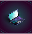 isometric blank laptop isolated on dark vector image vector image