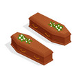 isometric broun closed classical expensive coffin vector image vector image