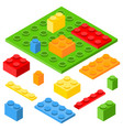 isometric plastic constructor blocks and bricks vector image