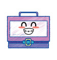 kawaii cute funny suitcase design vector image vector image