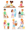 kids cleaning rooms and helping their mums vector image vector image